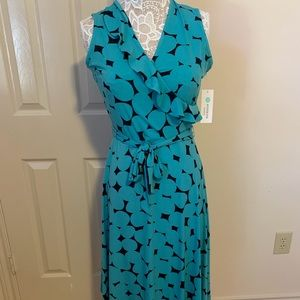 Teal and Navy Faux Wrap Dress